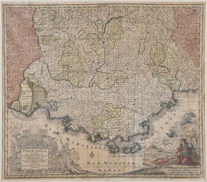 Gravure du XVIIIème siècle.Carte de Provence.50...