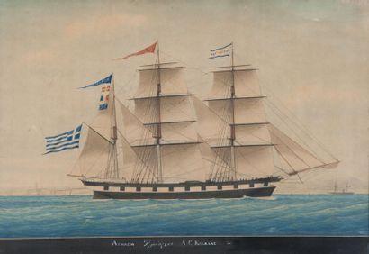 Louis François P. ROUX (1817-1903) Trois mâts grec devant le port de Marseille.Aquarelle.Signée...
