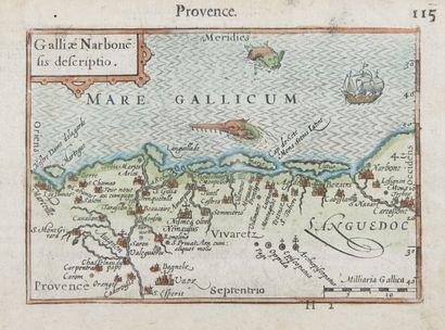 Gravure du XVIème siècle.Carte de la Provence.11...