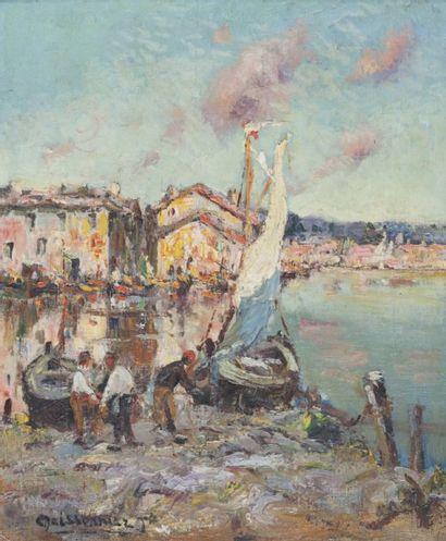 Joseph François X. MEISSONNIER (1864-1943) Les Martigues.Huile sur toile.Signée en...