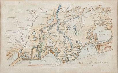 Gravure du XVIIIème siècle.Plan de la Camargue...