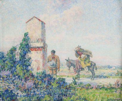 Henri AURRENS (1873-1934) Halte devant l'oratoire.Huile sur toile.Signée en bas à...