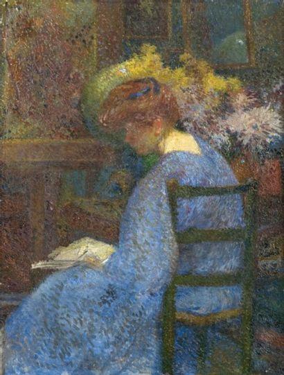 David DELLEPIANE (1866-1932) Femme à sa lecture.Huile sur toile.46 x 34,5 cm.