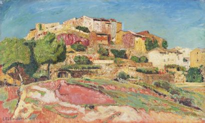 L. COLOMBIET Au pays des ocres, Roussillon en Vaucluse.Huile sur carton.Signée et...