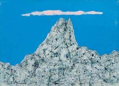 Hubert AICARDI (1922) La montagne. Technique mixte. Authentifiée au dos et numérotée...
