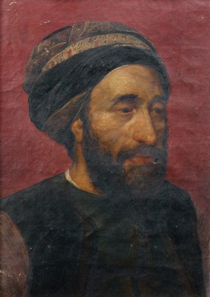 Ecole française du XIXème siècle Portrait d'un turc. Toile. 54,5 x 39 cm. Porte au...