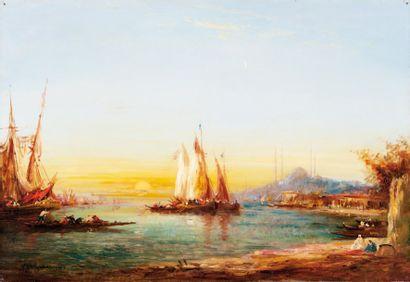 Adolphe BACHMANN (c.1880-?) Soleil couchant sur le Bosphore, Istambul. Huile sur...
