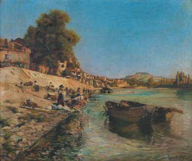 Laurent GSELL (1860-1944) Lavandières sur le Rhône. Huile sur toile. Signée en bas...