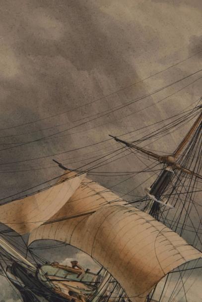 François ROUX (1811-1882)  Ex Voto, Portrait du trois mâts barque Irmal Capitaine...