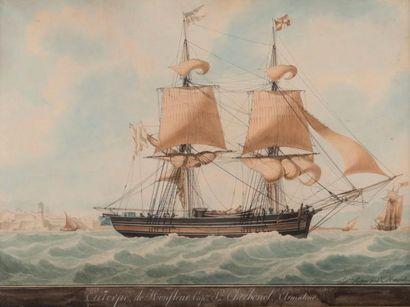 Antoine ROUX père ( 1765-1833)   Portrait du Brick Euterpe de Honfleur Capitaine...