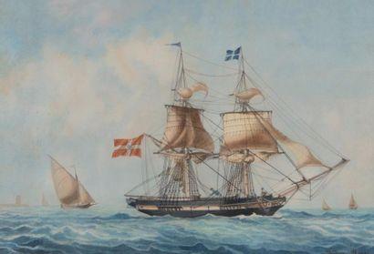 Frédéric ROUX (1805-1874) Portrait d'un Brick de commerce Danois dans la rade de...