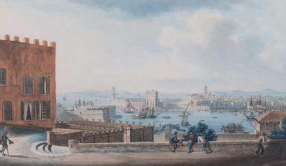 Antoine ROUX père ( 1765-1833)   Vue de l'entrée du port de Marseille prise de l'Abbaye...