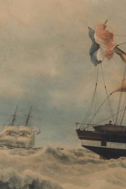 François ROUX (1811-1882)   Portrait du trois mats barque l'Afrique Capitaine Viand...