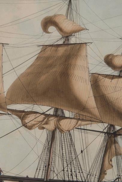 Antoine ROUX Fils (1765-1835) Portrait d'un trois mats à phares carré arborant le...