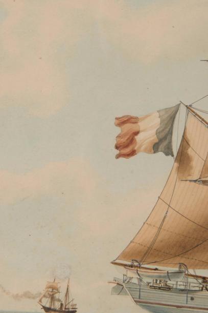 Antoine ROUX Fils Aîné Portrait de Brick Jacques Cartier de Saint Malo Capitaine...