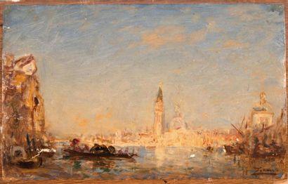 Félix ZIEM (1821-1911) Félix ZIEM (1821-1911)  Vue de Venise  Huile sur papier marouflé...