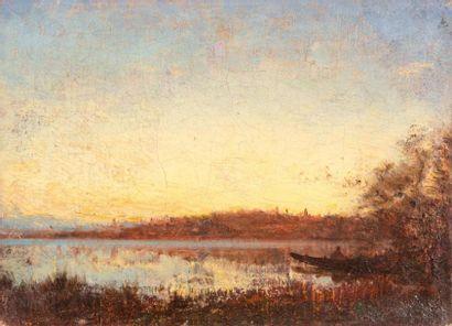 Félix ZIEM (1821-1911) Félix ZIEM (1821-1911)  Bord de rivière  Huile sur toile  21,5...