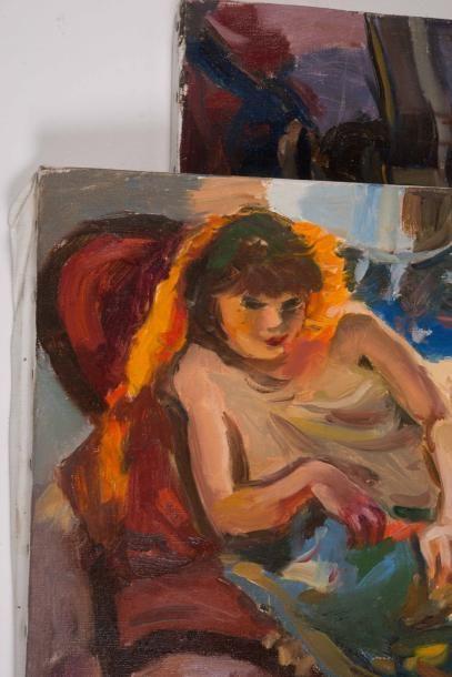 Pierre CORNU (1895-1996) Pierre CORNU (1895-1996)  Femme allongée  Huile sur toile...