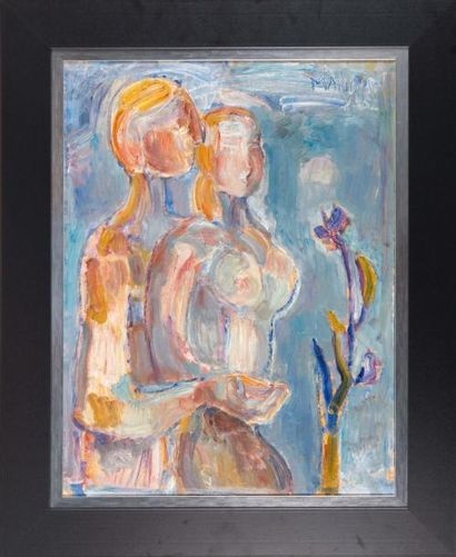Richard MANDIN (1909-2002) Richard MANDIN (1909-2002)  Le couple, 1952  Huile sur...