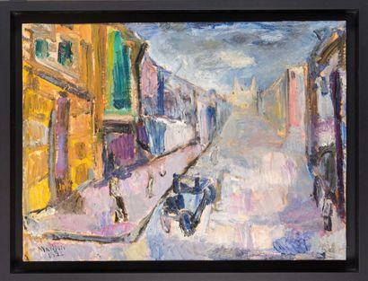 Richard MANDIN (1909-2002) Richard MANDIN (1909-2002)  La Canebière, 1952  Huile...