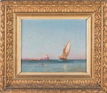 ANDRE MAGLIONE (1838-1923) André MAGLIONE (1838-1923)  Navire en mer  Huile sur toile...