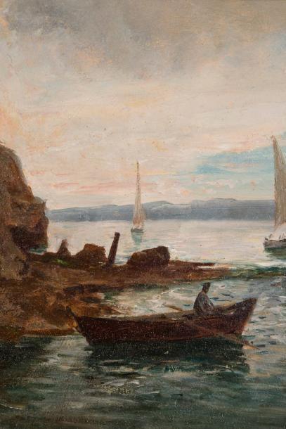 RAPHAËL LUC PONSON (1835-1904) Raphaël Luc PONSON (1835-1904)  Au Pharo  Huile sur...