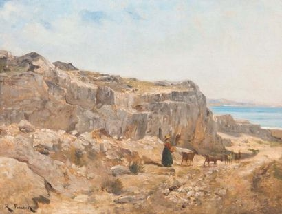 RAPHAËL LUC PONSON (1835-1904) Raphaël Luc PONSON (1835-1904)  Bergère en bord de...