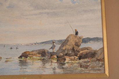 Henri Laurent MOUREN (1844-1926) Henri Laurent MOUREN (1844-1926)  Scène de pêche...