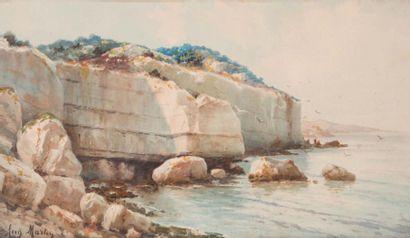 Auguste MARTIN (1828-1910) Auguste MARTIN (1828-1910)  Bord de côte  Aquarelle sur...