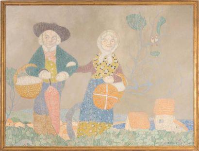 David DELLEPIANE (1866-1932) David DELLEPIANE (1866-1932)  Couple en tenue traditionnelle...