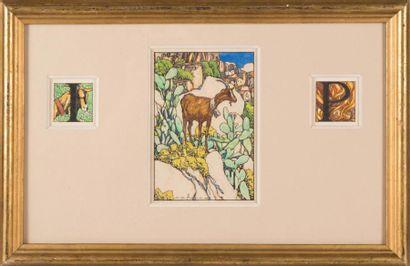 David DELLEPIANE (1866-1932) David DELLEPIANE (1866-1932)  Chèvre au milieu de figues...