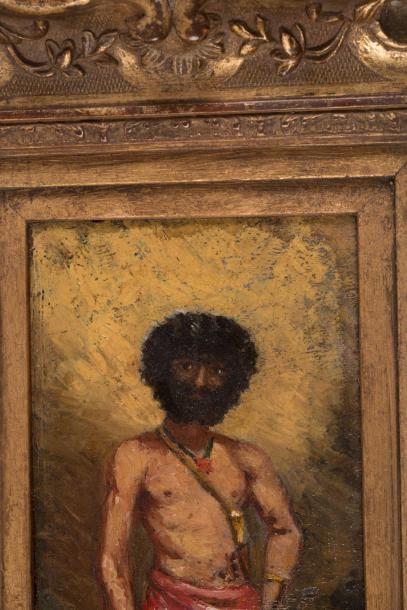 Adolphe Monticelli (1824-1886) Adolphe MONTICELLI (1824-1886)  Robinson Crusoé  Huile...