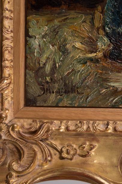 Adolphe Monticelli (1824-1886) Adolphe MONTICELLI (1824-1886)  Bouquet au vase bleu...