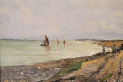 Alfred CASILE (1848-1909) Alfred CASILE (1848-1909)  Bord de côte  Huile sur toile...
