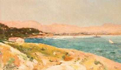Alfred CASILE (1848-1909) Alfred CASILE (1848-1909)  Vue de Marseilleveyre  Huile...