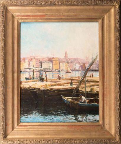 Léon PRIEUR BARDIN (1870-1939) Léon PRIEUR BARDIN (1870-1939)  Les barges de déchargement,...