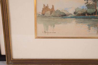 Casimir RAYMOND (1870-1955) Casimir RAYMOND (1870-1955)  Bord de rivière  Aquarelle...