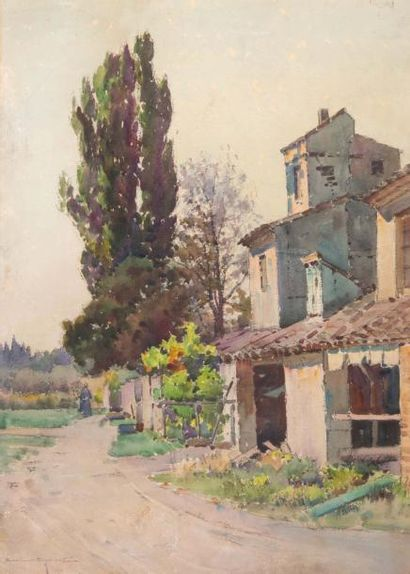 Casimir RAYMOND (1870-1955) Casimir RAYMOND (1870-1955)  Vue du village  Aquarelle...