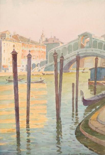 Casimir RAYMOND (1870-1955) Casimir RAYMOND (1870-1955)  Pont du Rialto  Aquarelle...