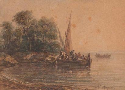 APIQUIEZ (XIX-XX) APIQUIEZ  Scène de pêche ; Enfant, 1846  Aquarelles sur papier...
