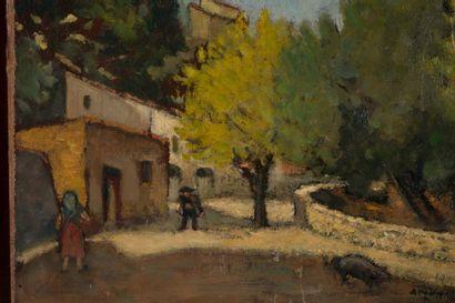 Augustin GRASMICK (1873-1963) Augustin GRASMICK (1873-1963)  Vue d'un village, 1913...