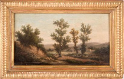 MARIUS ENGALIERE (1824-1857) Marius ENGALIÈRE (1824-1857)  Paysage animé  Huile sur...