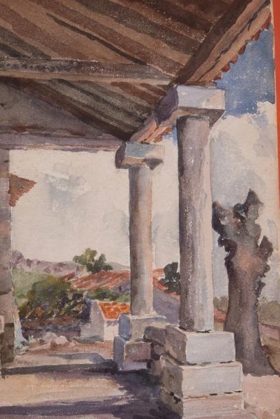 ANONYME Anonyme  Terrasse  Aquarelle sur papier  26,5 x 18 cm