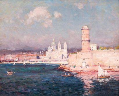 JEAN-BAPTISTE OLIVE (1848-1936) Jean-Baptiste OLIVE (1848-1936)  L'entrée du port...