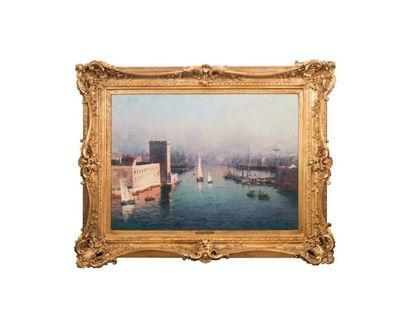 JEAN-BAPTISTE OLIVE (1848-1936) Jean-Baptiste OLIVE (1848-1936)  L'entrée du Vieux-Port...