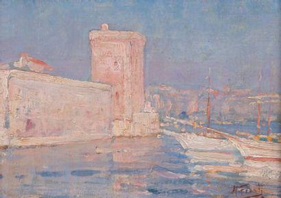 Michel FRONTI (1862-?) Michel FRONTI (1862-?) Vue de l'entrée du Vieux-Port de Marseille...
