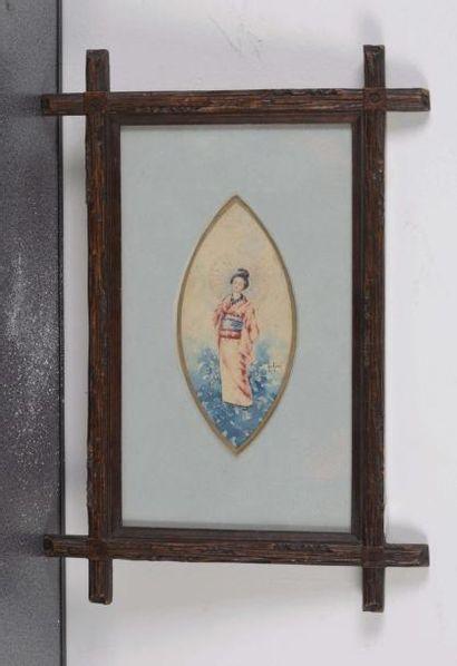 Henri AURRENS (1873-1934) Henri AURRENS (1873-1934)  Geisha  Aquarelle sur papier...