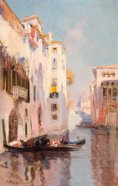 Raymond ALLEGRE (1857-1933) Raymond ALLEGRE (1857-1933)  Gondoles  Huile sur toile...