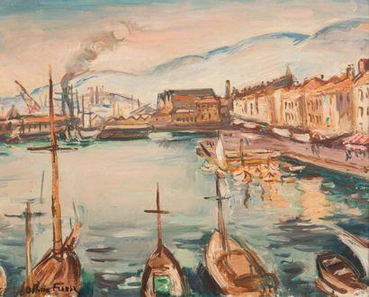 Othon FRIESZ (1879-1949) Othon FRIESZ (1879-1949)  Vue du port de Toulon  Huile sur...