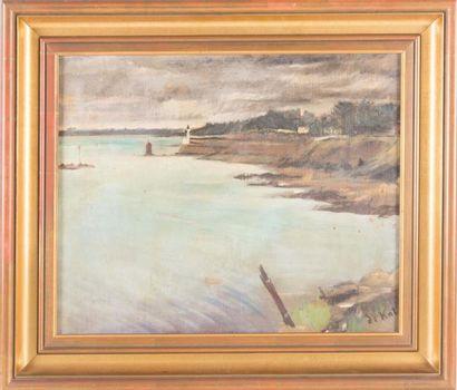 Anne Pierre de Kat (1881-1968) Anne Pierre DE KAT (1881-1968)  Bord de cote  Huile...